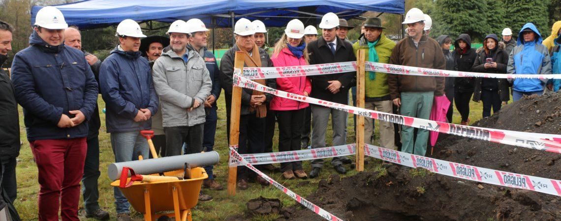 Instalación Primera Piedra nuevno Gimnasio Municipal de Pucón