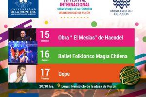 Bienvenido VII Festival Internacional Universidad de La Frontera y Municipalidad de Pucón